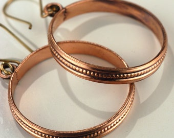 Large Copper Hoop Earrings, fashion jewelry hoop earrings, lightweight large earrings