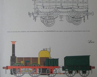 Large Vintage Print of Train Engines