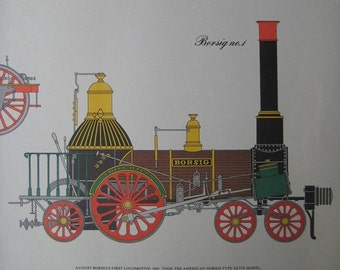 Large Vintage Print of Old Train Engines