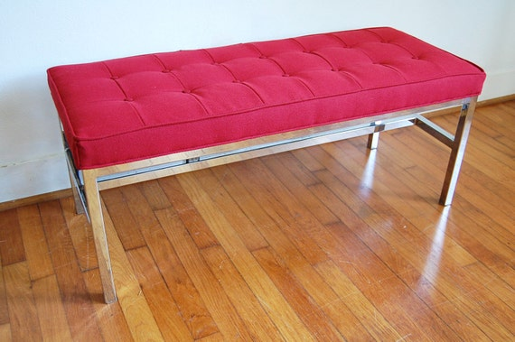 Chrome Bench 1970s Vintage Red Tufted Cushion