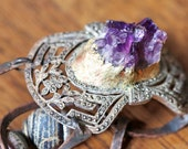 Ask the Moon to Come.  Victorian Tribal Cosmic Bracelet with amethyst.
