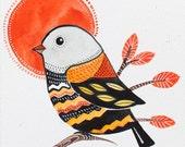 Home decor / Bird Art / Decorative / Nursery decor / Art / Gift / black Orange/ tree/ organic