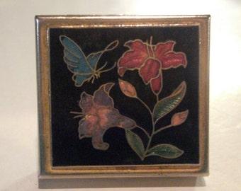 Vintage Enamel Pill Box - Enamel Flowers & Butterfly Box - Gold Tone Snuff Box - Metal Pill Box - Metal Snuff Box - Ladies Pill Case