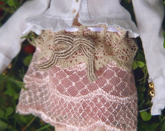 jiajiadoll-pink layered lace bowknot skirt for Momoko or Misaki or Blythe