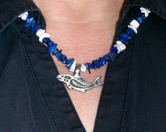 Lapis Lazuli and Howlite Chip Necklace with Fish Image on Pewter Pendant