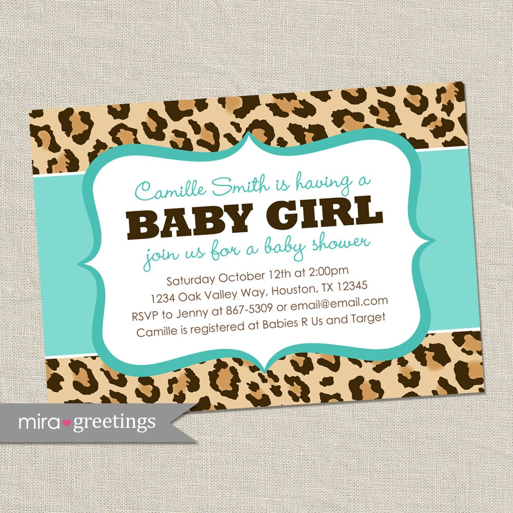 leopard baby shower invitation africa animal by miragreetings