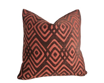Brown Tribal Pillow, Dark Brown Textured Pillows, Brown Rust Pillow Cover, Geometric, Mens Throw Pillow, Masculine Home Decor 18x18