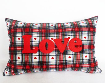 Love Valentine Pillow Cover, Country Pillow with Sayings, Love Pillow, Valentine Plaid Lumbar, Sweetheart Message, Teen Gift Idea, 12x18