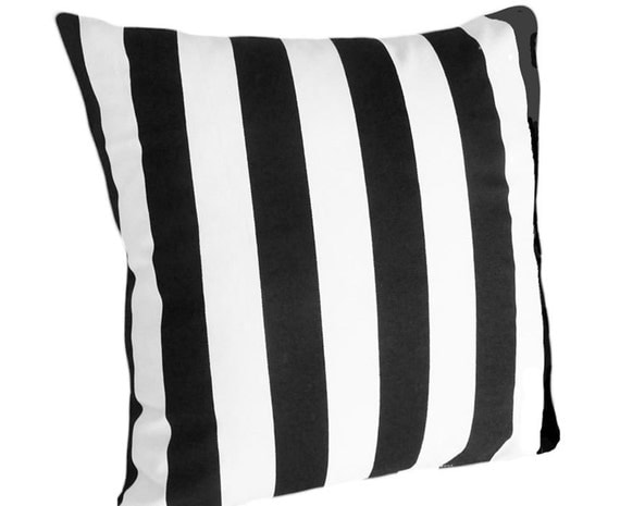 Black and White Striped PATIO Pillow Indoor Outdoor Pillow