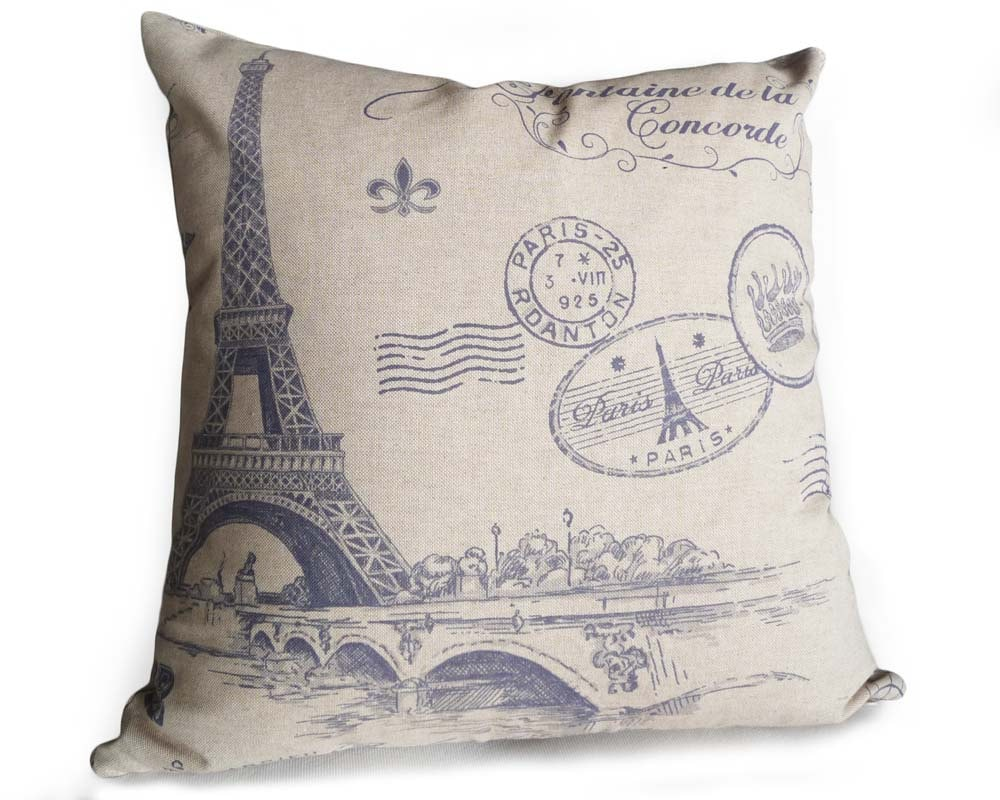 French Country Pillows Dorm Decor Pillows Taupe Blue Pillow