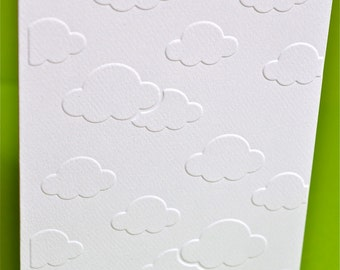 Set of 6 -- Cloudy Sky Cards. Hand Embossed Cards.  Greeting Cards.  Note Cards.  Thank you Cards.