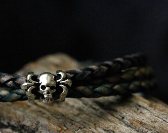 Leather Skull Head Unisex Bangle Bracelet, Sterling Silver Braided Bolo Eco Friendly Leather, Dark Blue Olive Green Purple Black, Biker Chic