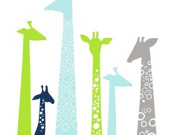"11X14"" modern giraffe silhouettes giclée print on fine art paper. bright apple green, sky blue, navy, gray."