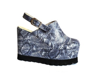 LES TROPEZZIENNES French Vintage Blue Snake Skin Wedges Slingback Shoes