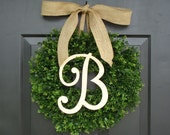 Monogram Boxwood Wreath, Fall Monogram Wreath with Burlap Bow, Housewarming Gift, Wedding Wreath 16- 22 INCH Available