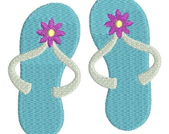 Flip Flops Sandals with flower Machine Embroidery Design 4x4 and 5x7 Instant Download