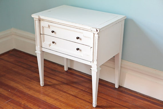Nightstand End Table Shabby Chic White By VintageChicFurniture