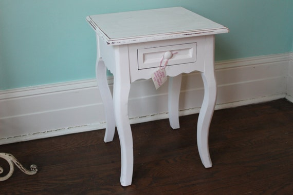 White Nightstand Side Table: Shabby Chic Night Stand End Table White By
