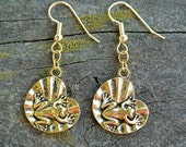 Gold  Frog On Lily Pad Charm Earrings //  Gifts Under 10 // Frog Jewelry // Charm Earrings // Earrings