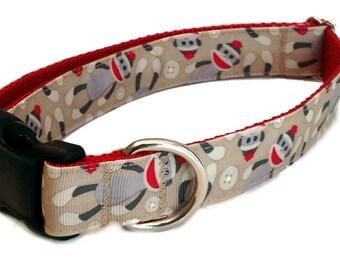 "1"" Sock Monkey Dog Collar Buckle or Martingale"