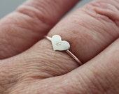 Personalized Sterling Initial Ring Stacking Ring Tiny Heart - Custom made for you