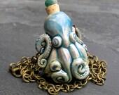 Resereved for Abby, Octopus Necklace, Kraken necklace, Raku Bottle Pendant