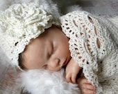 Seaside Cottage Baby Cocoon / Snuggle Sack and Hat Newborn in Cream Cotton Photo Prop