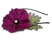Magenta Icelandic Poppy Flower Headband- You Choose Headband, Clip, or Brooch- Embroidered Silk Flower Fascinator with Leaves
