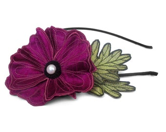 Magenta Icelandic Poppy Flower Headband- You Choose Headband, Clip, or Brooch- Embroidered Silk Flower Fascinator with Leaves