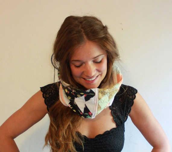 Floral/Plaid Upcycled Eco Friendly Patchwork Quilted Vintage Fabric Cotton Cowl Scarf Neckwamer Hippie/Bohemian One Of A Kind