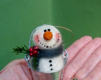 "Snowman in a Bucket 3"" Wool Felted Ornament"