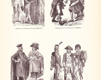 1898 World History Print - Fashion of the French Revolution  - Vintage Antique Art Print American History Great for Framing 100 Years Old