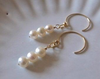 Freshwater White Pearl Earrings, Gold Filled White Pearl Dangle Earrings, White Pearl Drop Earrings, Handcrafted White Pearl Earring Jewelry