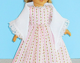 Floral Stripe Spring Colonial Dress with Linnen Look Shawl -- 18 Inch Doll Clothes