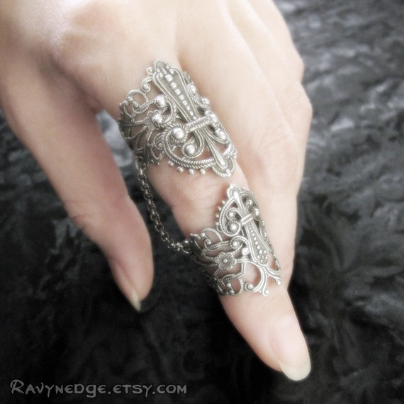 Aegis Silver Filigree Armor Ring - Adjustable Ring, Double Ring, Steampunk Jewelry, Knuckle Ring, Slave Ring, Armour Ring, Gothic Ring