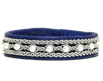SwedArt B98 Madeleine Sami Leather Bracelet with PEARLS Pewter Button Royal Blue LARGE