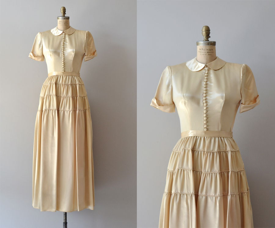 Demimondaine Gown 1940s Wedding Dress Vintage 40s Dress