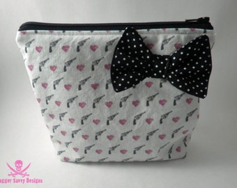 Revolvers and Hearts Zipper Pouch Makeup Bag Cosmetic Bag