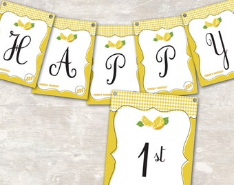 "PRINT & SHIP Lemonade Stand Birthday Party Pennant Banner (""Happy 1st Birthday"") >> personalized and shipped to you <<"