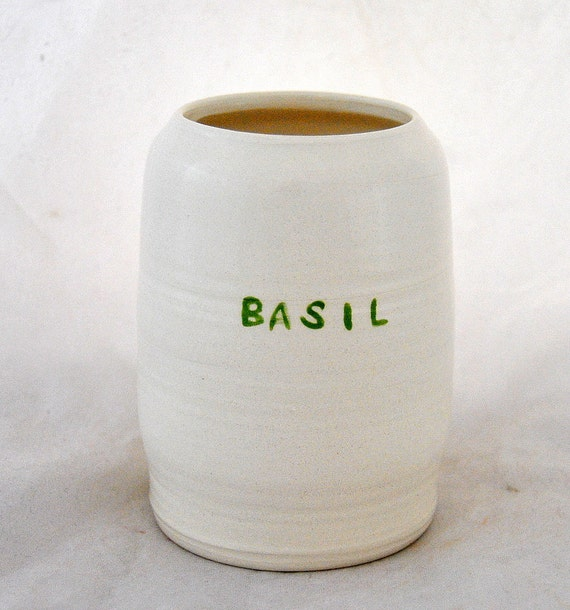 handmade BASIL spice jar
