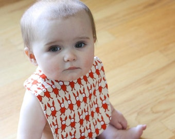 Baby Bib with Organic Flannel- Bunny Rabbits- Modern Baby, Eco Friendly, Spring