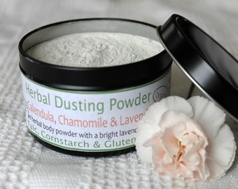 Herbal Body Powder 4 oz/113g- Calendula, Chamomile, Lavender. Organic, Talc Free, Cornstarch Free, Gluten Free. Metal Travel Size Tin