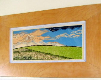 Riceland Sunset, limited edition, hand printed, hand signed in pencil by artist, framed