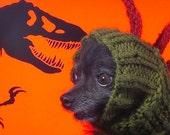 Dinosaur/Monster Snood hand knit Dog