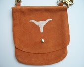 Leather Hip Bag Orange Suede with Embroidered Longhorn
