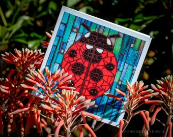 Blank Greeting Card - Ladybug mosaic