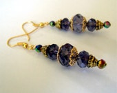 Free Shipping In USA Purple Crystal Dangle Earrings Vintage Inspired Bridal Cocktail Hollywood Regency