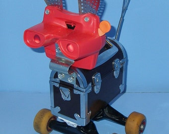 Robot  Astro The Space Doggy, Recycle, Upcycle,Assemblage,Found Object,Reclaimed