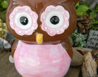 Ceramic OWL Bank Brown and Pink  Retro Modern Ceramic Owl Bank   Vintage Design   - Ready to ship items in my shop