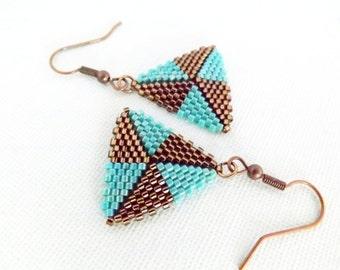 Peyote Earrings / Peyote Triangle Earrings / Beaded Earrings in Turquoise and Brown / Sterling Silver or  Copper / Seed Bead Earrings /